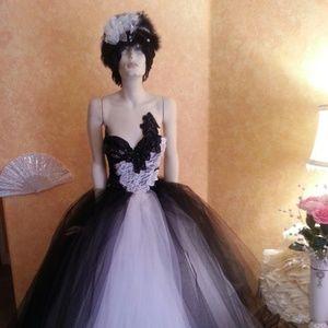 NATASHA Black & White Tulle Crystal Wedding Gown
